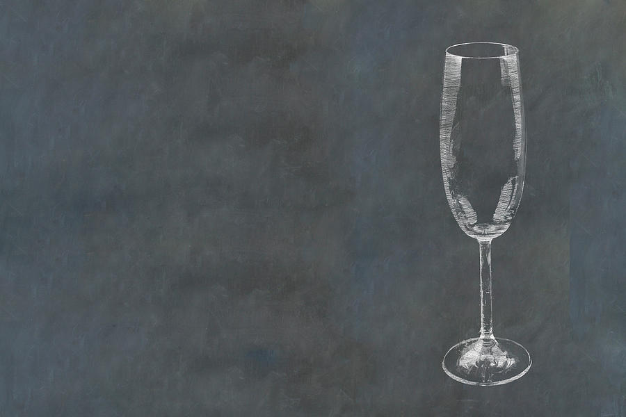 Champagne Glass Sketched In Chalk On Blackboard Photograph