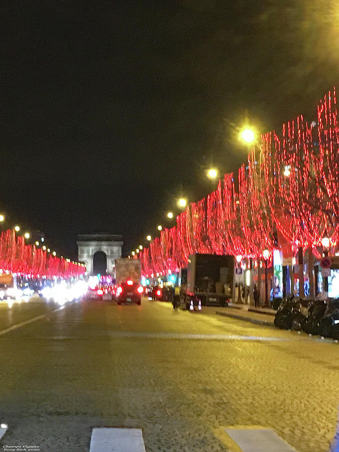 Champs Elysees During Holidays Painting
