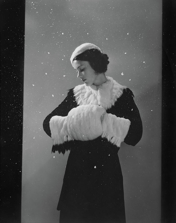 Chanel Winter Coat, Muff, And Hat With Simulated Snow Photograph by Edward Steichen