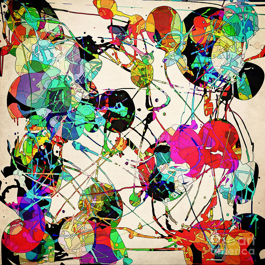 Abstract Expressionism Digital Art - Chaotic Clusters of Color by Phil Perkins