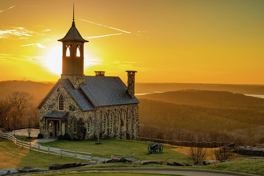 Chapel Of The Ozarks Golden Sunset At Top Of The Rock Photograph