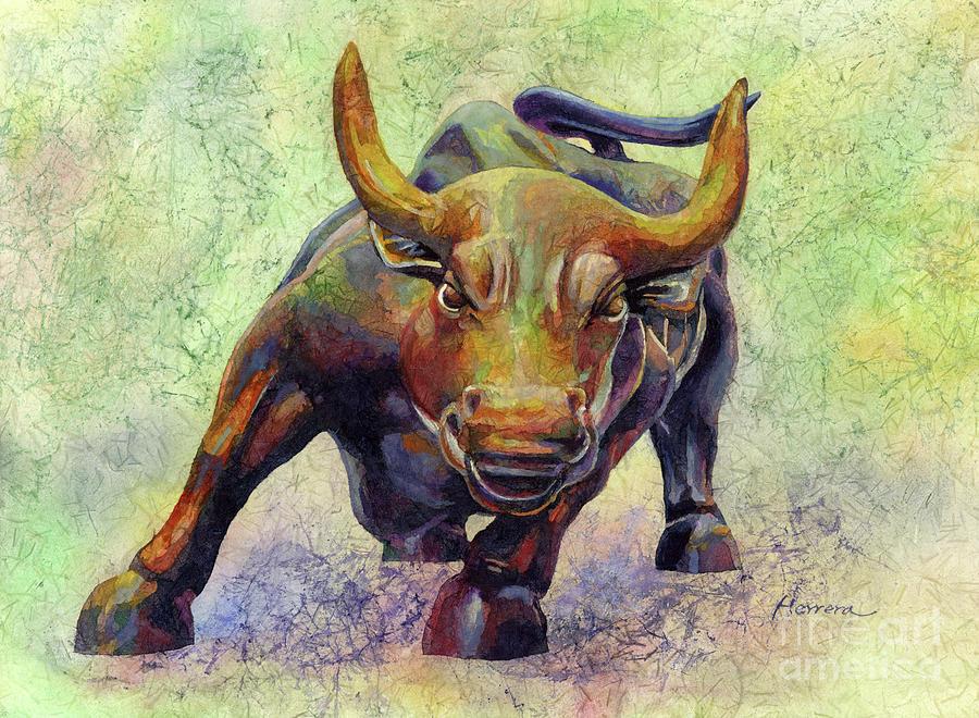 Charging Bull-pastel Colors Painting