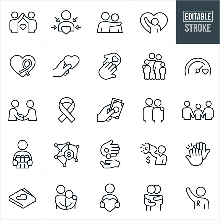 Charitable Giving Line Icons - Editable Stroke Drawing by Appleuzr