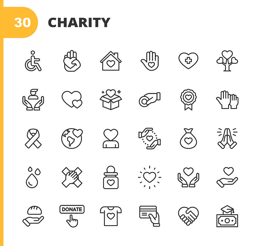 Charity and Donation Line Icons. Editable Stroke. Pixel Perfect. For Mobile and Web. Contains such icons as Charity, Donation, Giving, Food Donation, Teamwork, Relief. Drawing by Rambo182