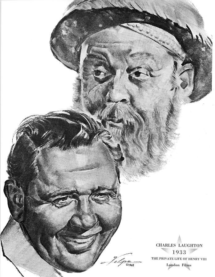 Charles Laughton By Volpe Drawing