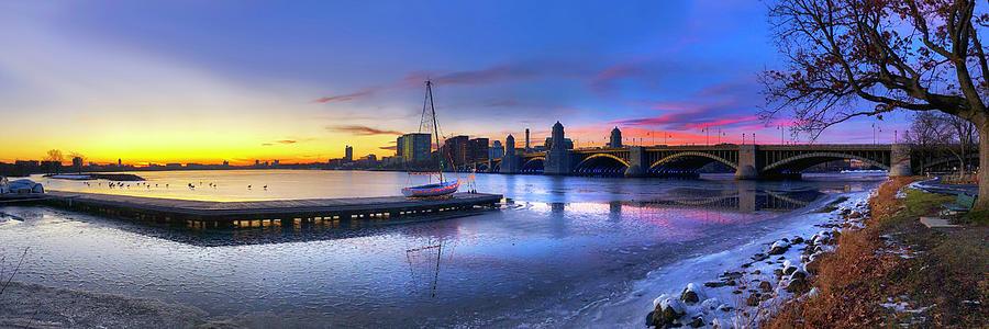 Charles River Boston Winter Panoramic by Joann Vitali