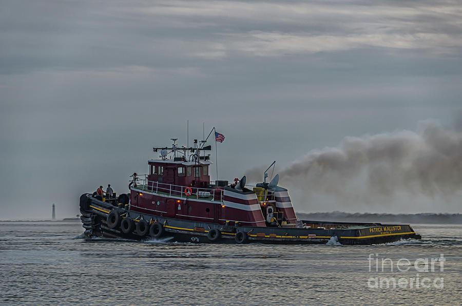 Charleston Harbor - Patrick Mcallister Tug Boat - Morris Island Lighthouse Photograph