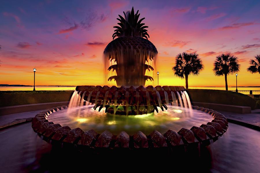 Charleston Pineapple Fountain At Sunrise Photograph