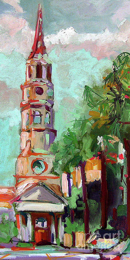 Charleston St Phillips Church Oil Painting  Painting by Ginette Callaway
