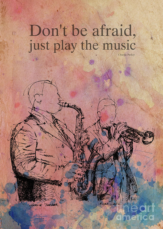 Charlie Parker Original Ink Drawing And Quote Drawing