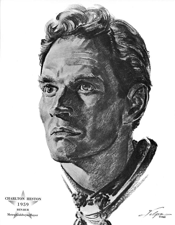 Charlton Heston By Volpe Drawing