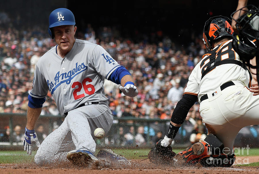 Chase Utley and Buster Posey Photograph by Thearon W. Henderson