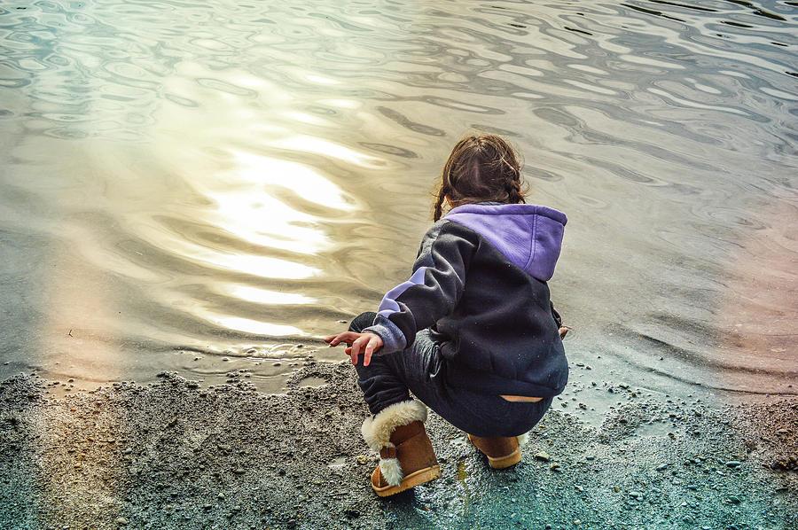 Child Photograph - Chasing River Rainbows by Cindy Nunn