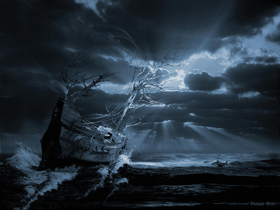 Chasing The Light Ghost Ship Series Digital Art
