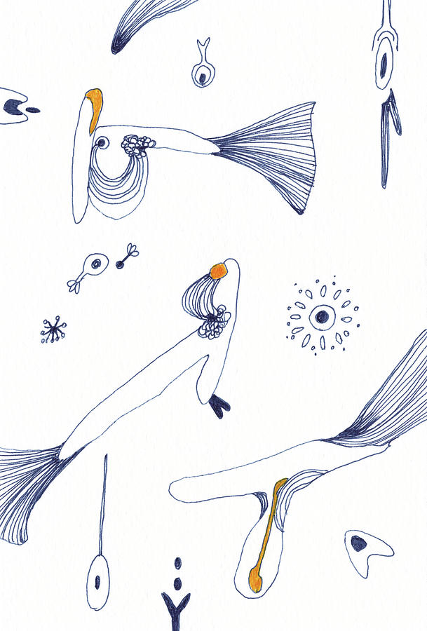 Lines Drawing - Chatting - #ss20dw010 by Satomi Sugimoto