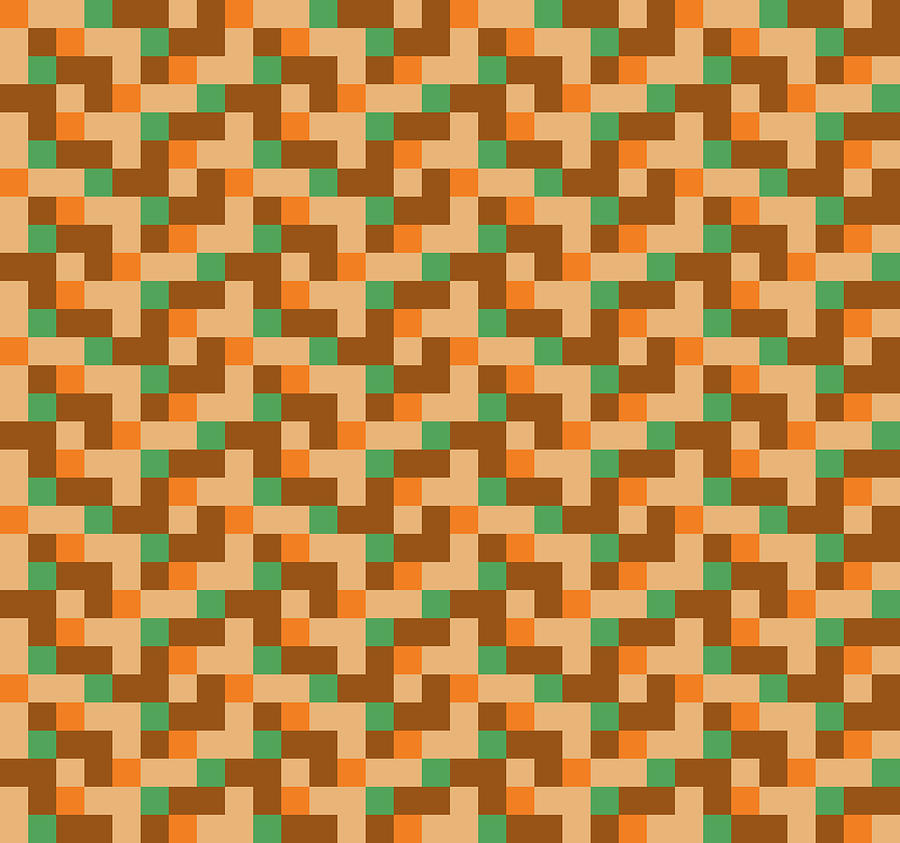 Check Asymmetrical GreenOrangeBeigeBrown by Max Coffey