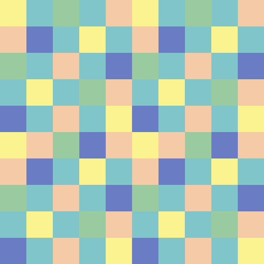 Checkered Pattern With Yellow Turquoise Mint Peach And Purple Digital Art