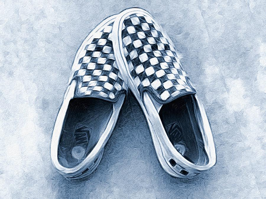 black and white checkered vans with roses