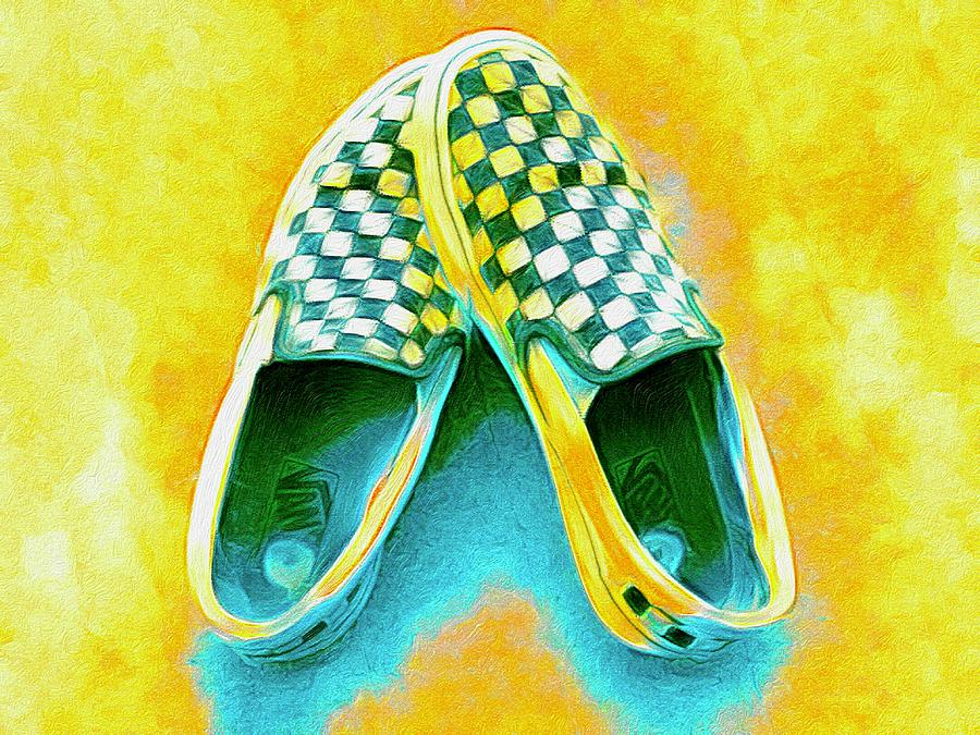 Checkered Vans in Turquoise and Yellow