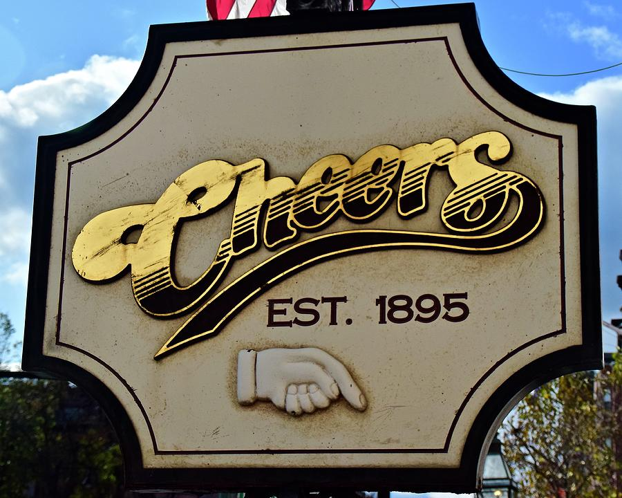 Cheers Sign with Pointing Hand by Frozen in Time Fine Art Photography