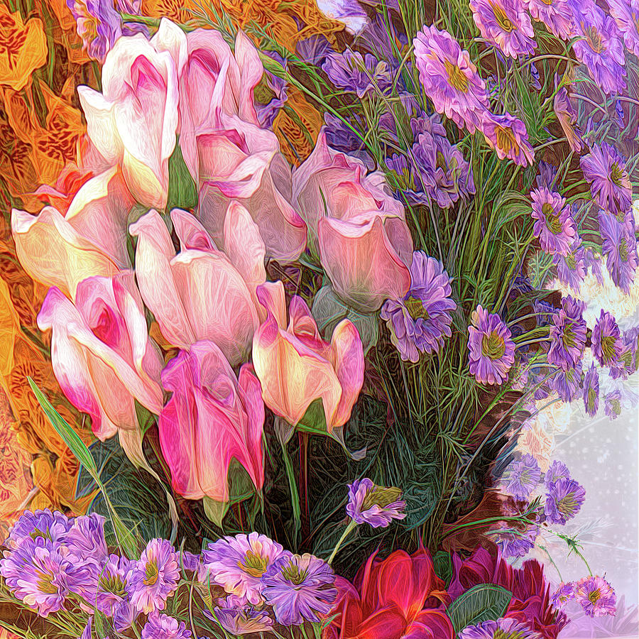 Cheers To Summer Flowers Abstract Painting