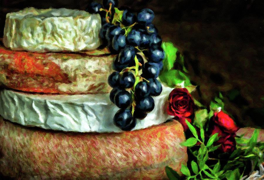 Cheese, Fruit And Roses Digital Art