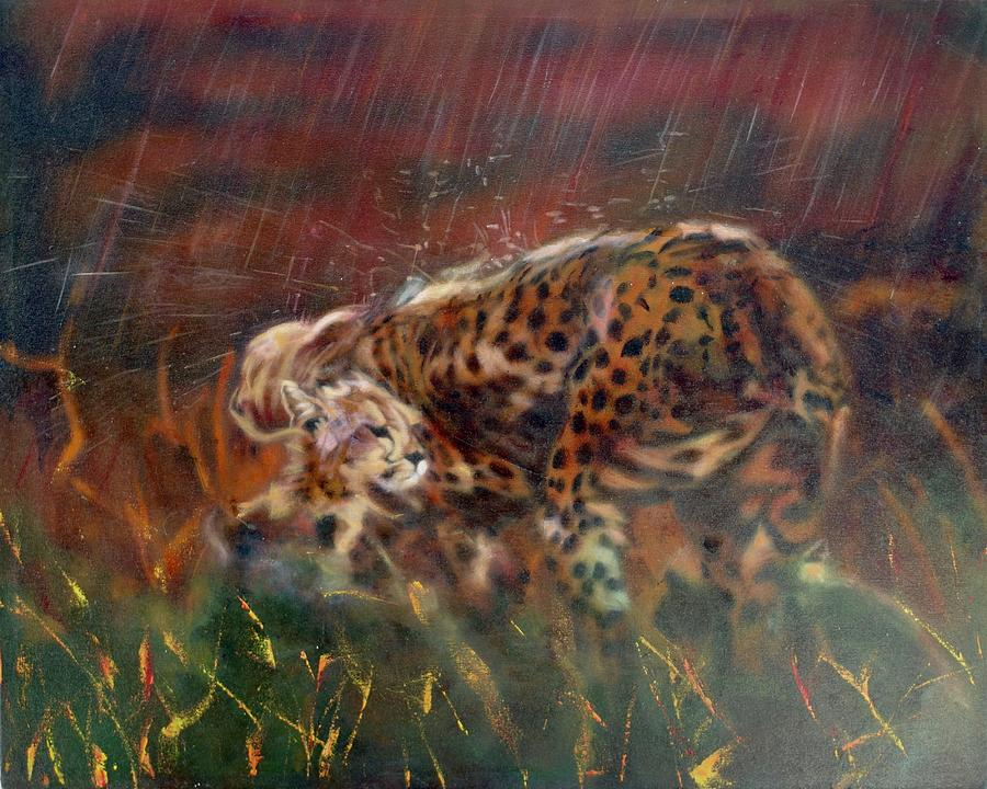 Realism Painting - Cheetah Family After The Rains by Sean Connolly