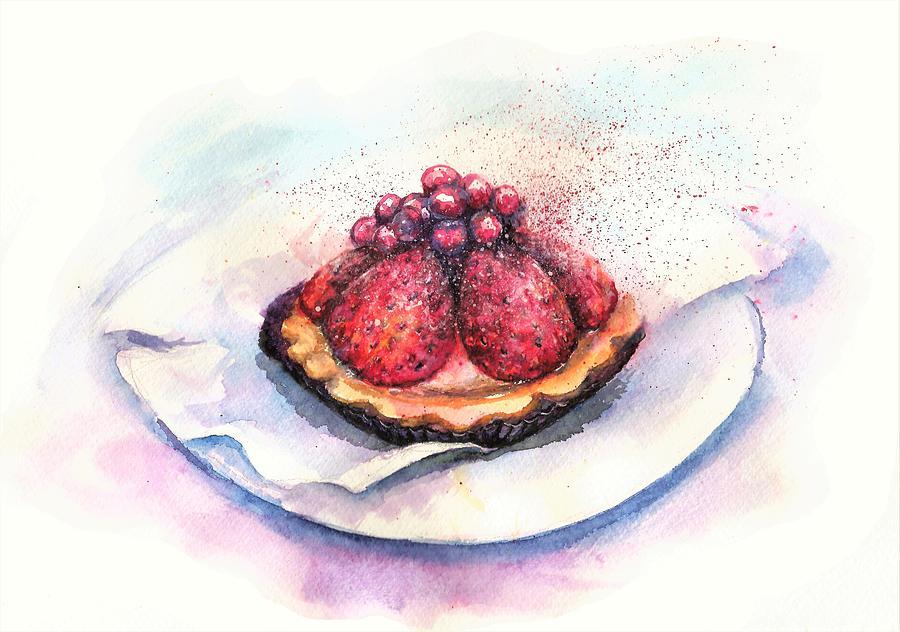 Cake Painting - CHERRIES cake by Natalja Picugina
