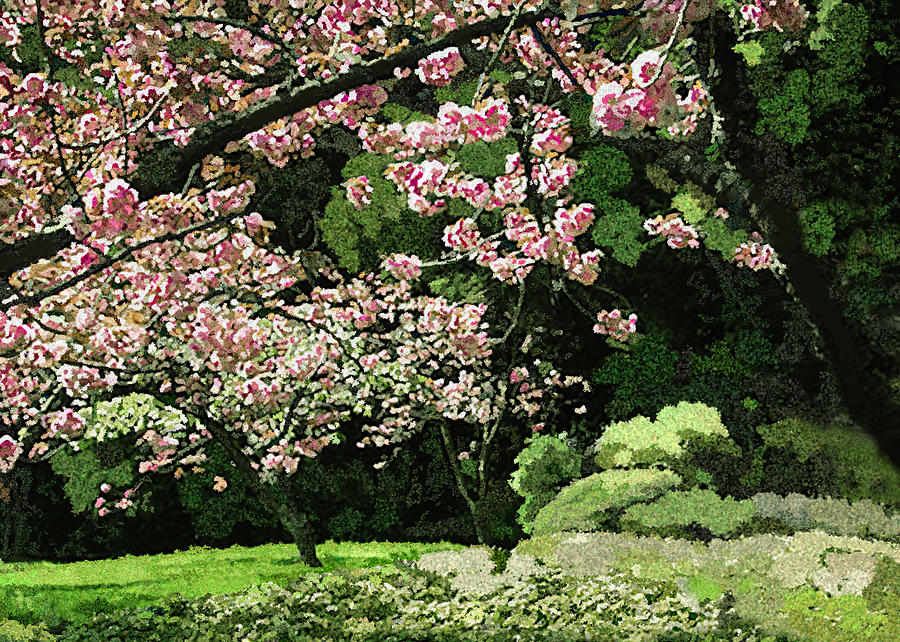 Cherry Tree Japanese Garden Painting