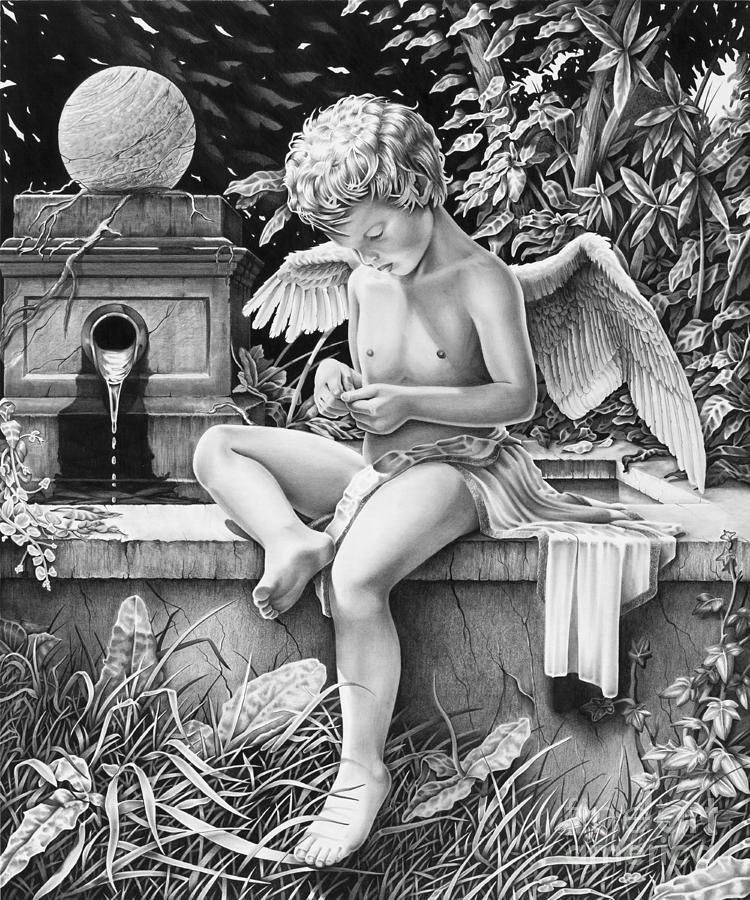 Cherub Drawing by Ross Coleman