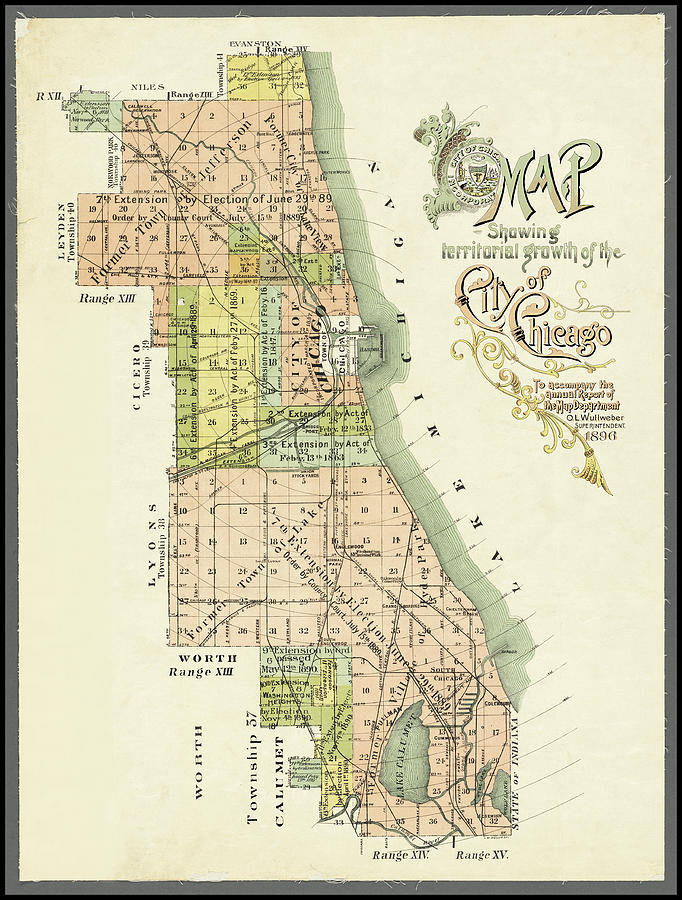 Chicago Antique Map Showing Territorial Growth 1896 by Phil Cardamone
