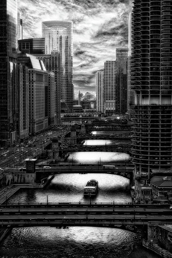 City View Photograph - Chicago City View December Tour Boat Ride Bw Vertical Hdr by Thomas Woolworth