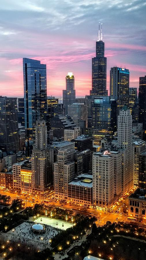 Chicago Fall Sunset by Raf Winterpacht