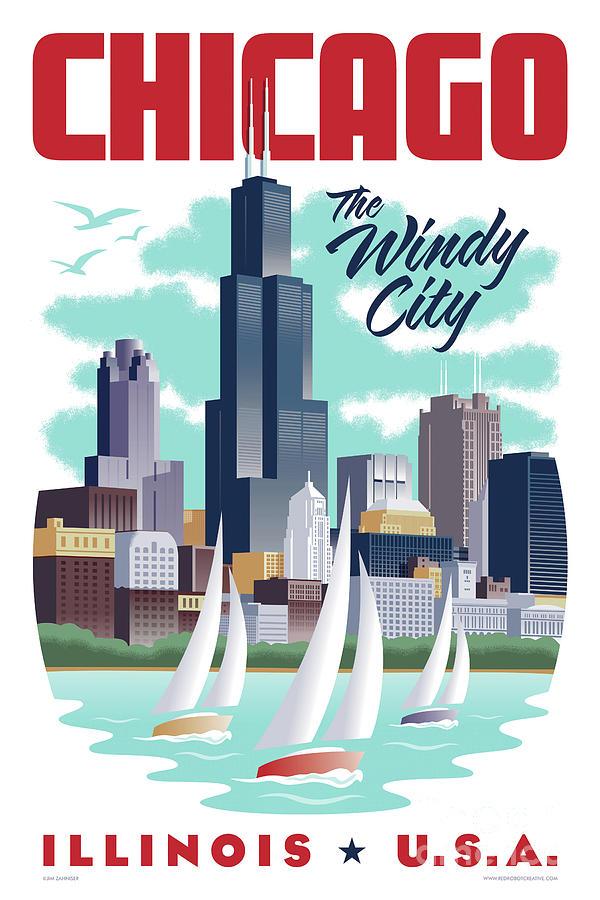 Art Deco Digital Art - Chicago Poster - Vintage Travel by Jim Zahniser