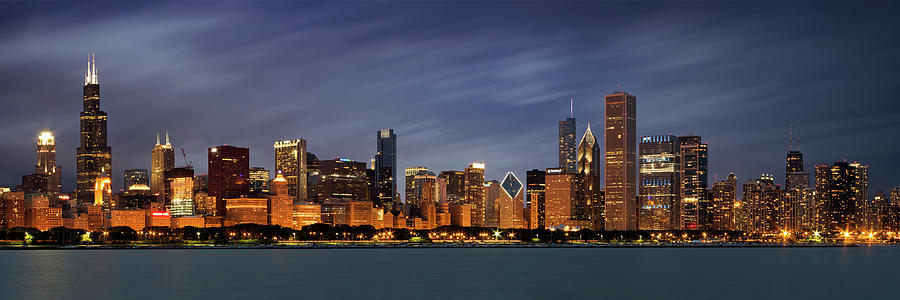 3scape Photograph - Chicago Skyline At Night Color Panoramic by Adam Romanowicz
