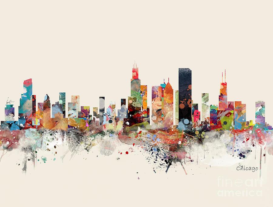 Chicago Skyline Painting - Chicago Skyline by Bri Buckley