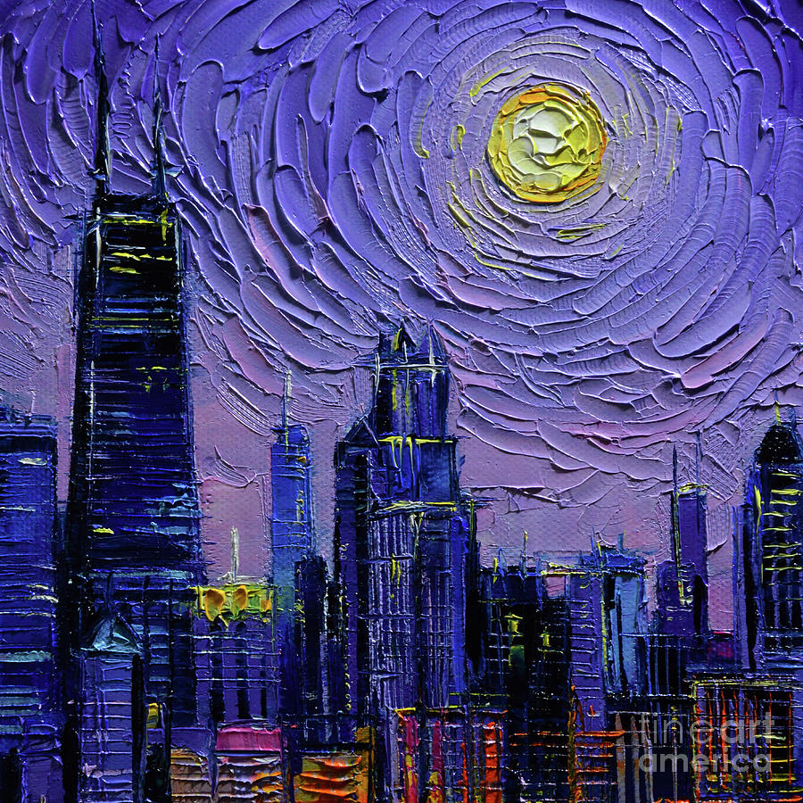Chicago Skyline Commissioned oil painting Mona Edulesco by Mona Edulesco