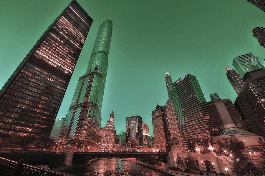 Chicago Skyline, Illinois, Usa - 21 - Surreal Art By Ahmet Asar Digital Art