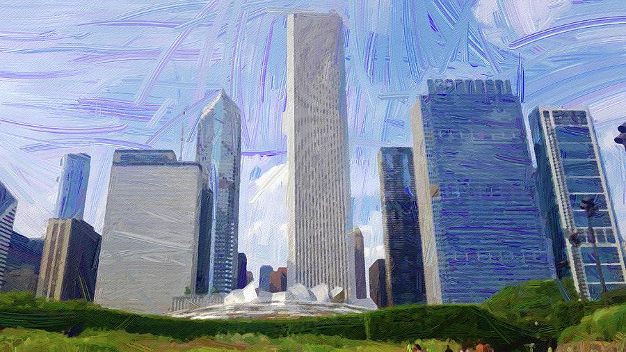 Chicago Skyline, Illinois, Usa - 34 - Abstract Oil Painting By Ahmet Asar Digital Art
