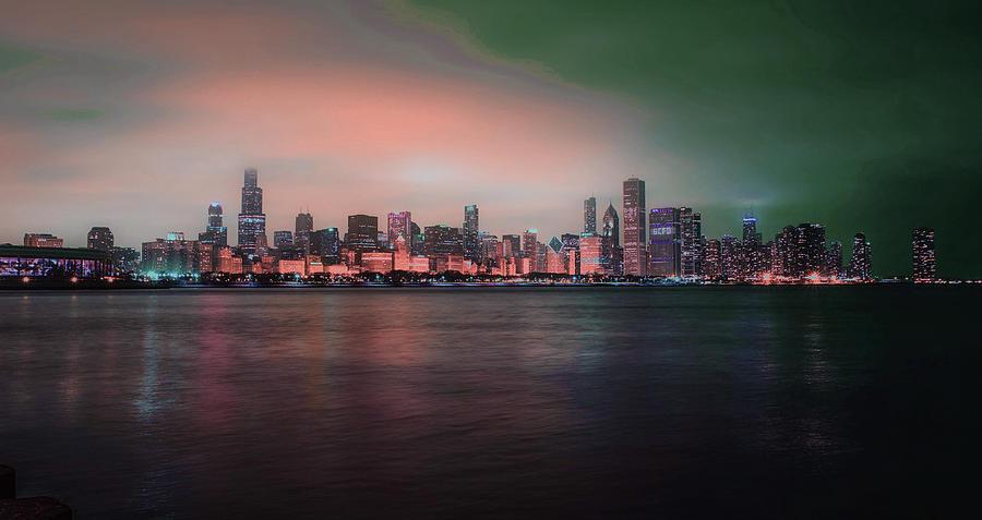 Chicago Skyline, Illinois, Usa - 5 - Surreal Art By Ahmet Asar Digital Art