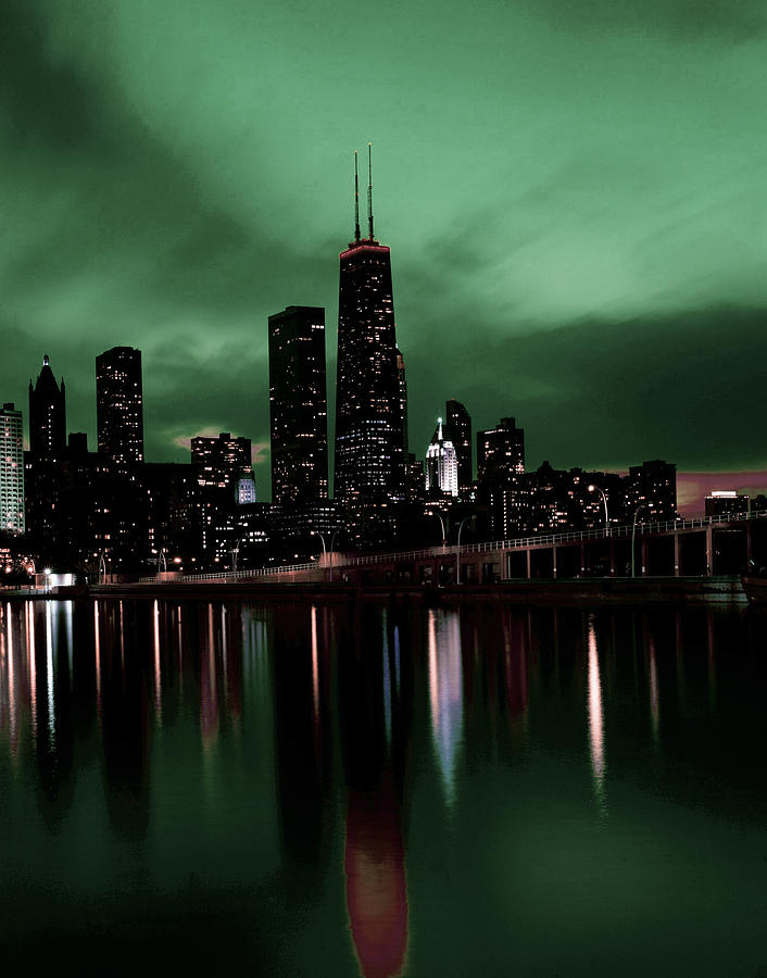 Chicago Skyline, Illinois, Usa - 9 - Surreal Art By Ahmet Asar Digital Art