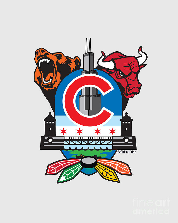 The Cubs Digital Art - Chicago Sports Fan Crest by Joe Barsin