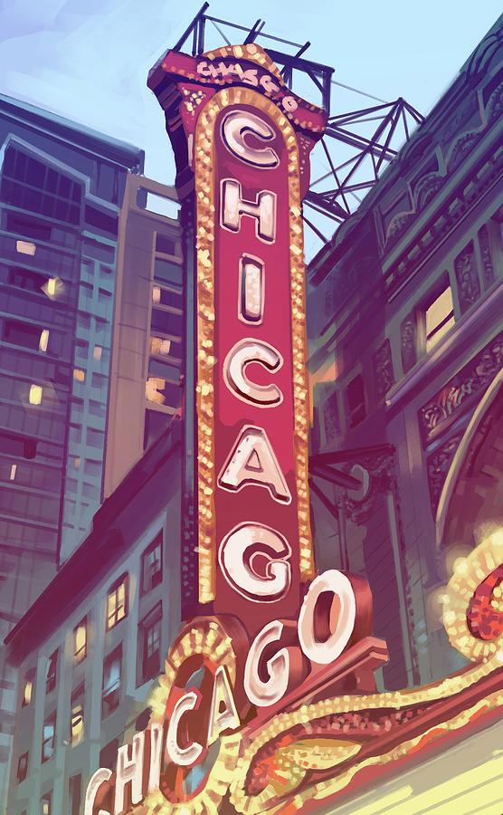 Chicago Theatre Sign Digital Art