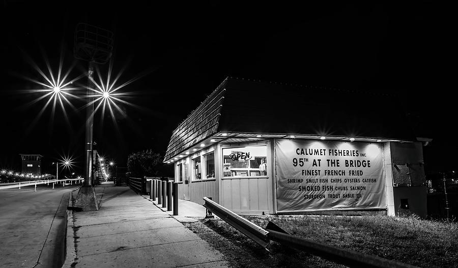 Chicagos Calumet Fisheries At Night Photograph