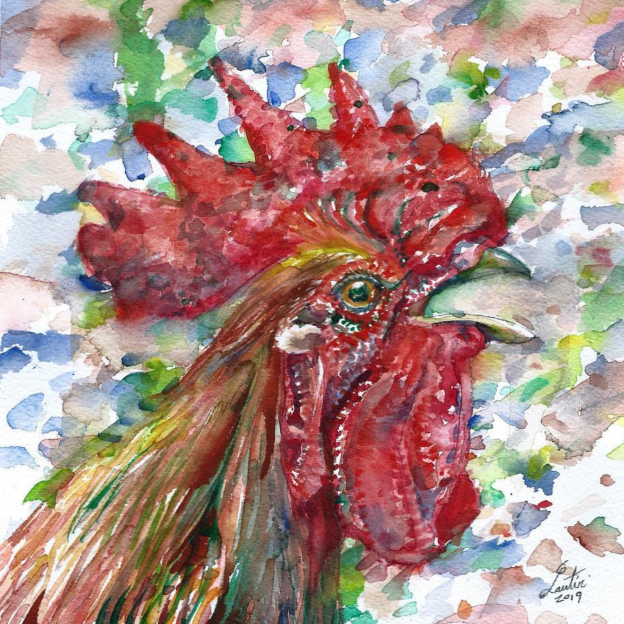 CHICKEN - watercolor portrait.2 by Fabrizio Cassetta