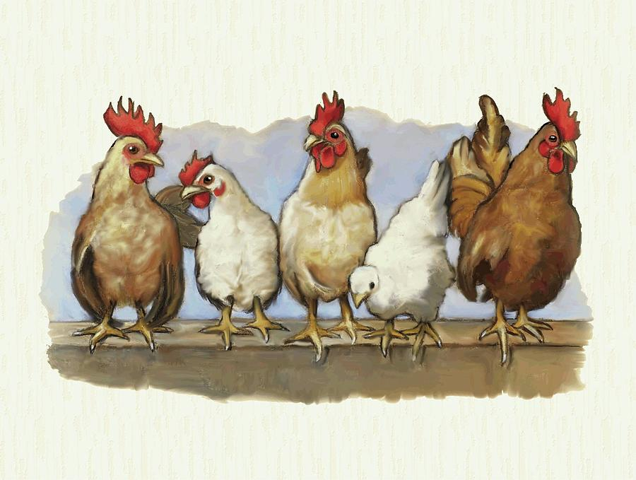 Chickens And Roosters All In A Row Mixed Media
