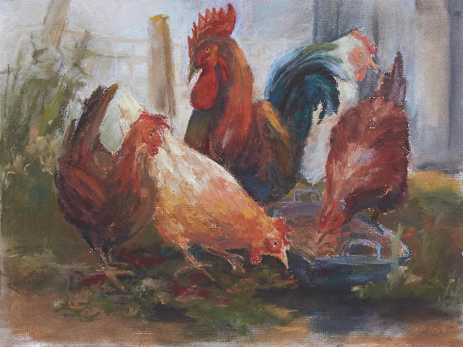 Chickens Drawing by Barbara Pommerenke