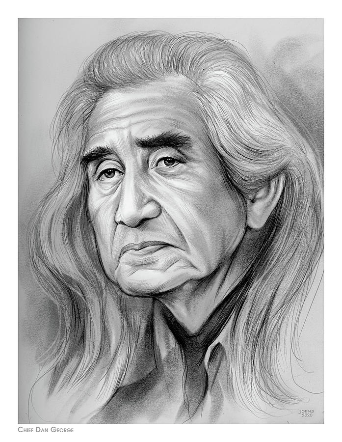 Chief Dan George Drawing - Chief Dan George - Pencil by Greg Joens