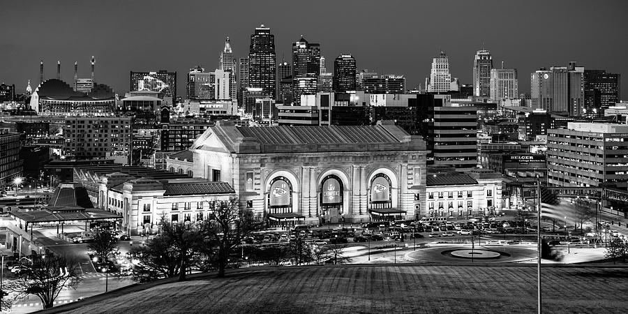 Chiefs Skyline Monochrome Panorama - Kansas City Missouri Photograph