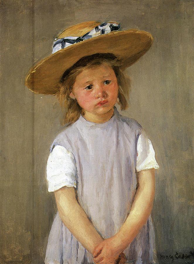 Mary Cassatt Painting - Child In Straw Hat by Mary Cassatt